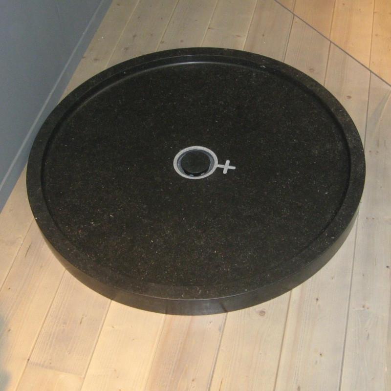 Piatto doccia circolare in marmo lei 90 cm nero kasashop - Piatto doccia nero ...