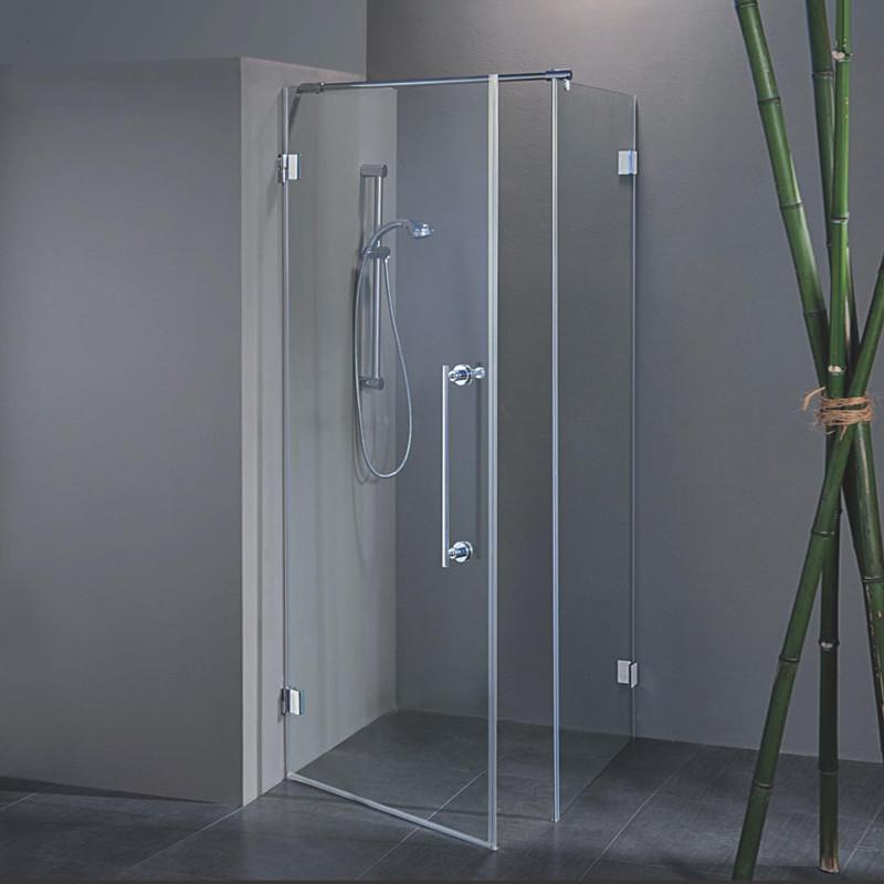 Porta a battente con fisso laterale rosa da 80x80 cm in - Box doccia porta battente ...