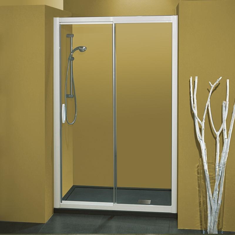 Porta doccia scorrevole 1704 da 115 123 cm in cristallo 6 mm brill satinato - Porta in cristallo scorrevole ...
