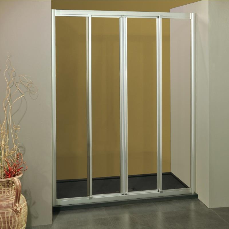 Porta doccia scorrevole con apertura centrale 1107 4 da 139 147 cm in cristallo 4 mm bianco satinato - Porta in cristallo scorrevole ...