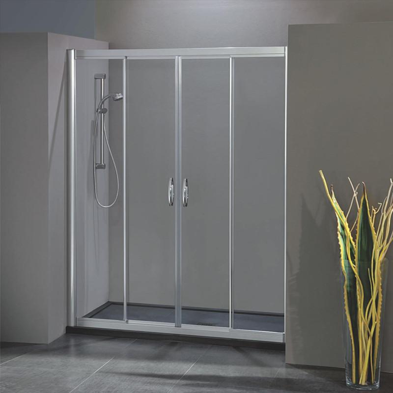 Porta doccia scorrevole con apertura centrale 1703 4 da 139 147 cm in cristallo 6 mm - Porta in cristallo scorrevole ...