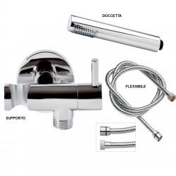 Albanella kit doccia con rubinetto supporto, doccetta cilindrica e flessibile
