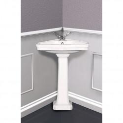 Albano lavabo angolare 45 cm completo di colonna bianco