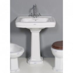 Albano lavabo 64 cm e colonna in ceramica bianca decoro Floreale Blue