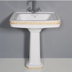 Albano lavabo 69 cm completo di colonna decoro Floreale oro