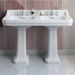Albano Venice lavabo consolle doppio bacino 125 cm con due colonne Bianco