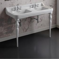Albano Venice lavabo consolle doppio bacino 125 cm completo di gambe Queen Bianco