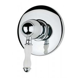 Antico miscelatore monocomando doccia incasso Cromo con leva in porcellana Bianca