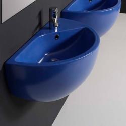 Blob lavabo sospeso 75 cm in ceramica blue