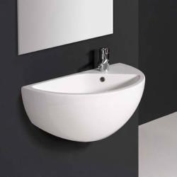 Blob lavabo sospeso 75 cm in ceramica bianco