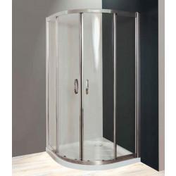 Box doccia semicircolare scorrevole 1900 da 90 cm con maniglie in cristallo 4 mm