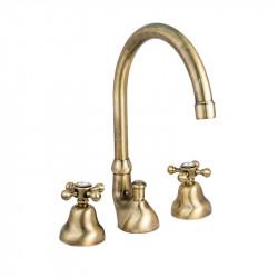 Charme rubinetto lavabo collo alto bronzo