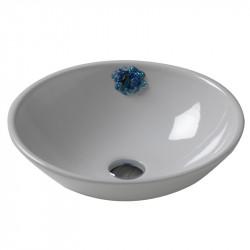 Cup lavabo da appoggio bianco 47 cm con applicazione Pietre Naturali  Blu e Swarovsky