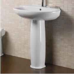Euro lavabo monoforo 68 cm completo di colonna bianco