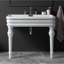 Florence lavabo consolle con fori rubinetteria completo di gambe Bianco