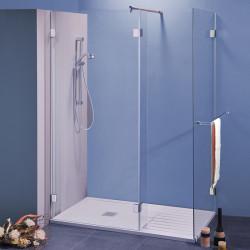 Box doccia walk in Labirinto da 141x80 cm in cristallo 8 mm con braccio di fissaggio