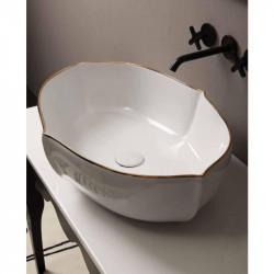 Oyster lavabo da appoggio Bianco Filo Oro