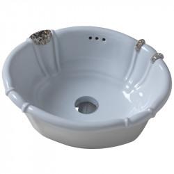 Old America lavabo da incasso 49 cm bianco con applicazione Pietre Naturali e Swarovsky