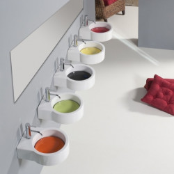 Turn lavabo da appoggio o sospeso completo di piastra Verde