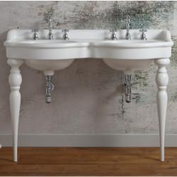 Queen lavabo consolle retrò doppio bacino 120 cm White Agate