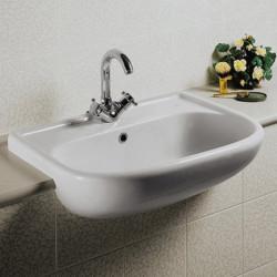 Lavabo semincasso universale tre fori bianco