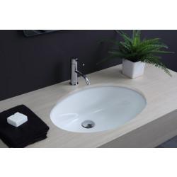 Lavabo sottopiano Ovale 56,5 cm bianco, smaltato anche esternamente