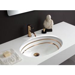 Lavabo sottopiano Ovale 56,5 cm smaltato anche esternamente bianco  doppio Filo Oro