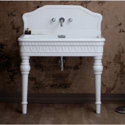 Margot lavabo consolle 100x60 cm senza fori completo di spalliera e gambe Bianco