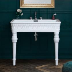 Margot lavabo consolle con fori rubinetteria completo di gambe Bianco