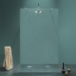 Parete doccia walk-in centrale Milena da 140 cm in cristallo 8 mm con doppio braccio di fissaggio cromo