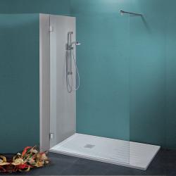 Parete doccia walk-in Federica da 90 cm in cristallo 8 mm con braccio di fissaggio cromo