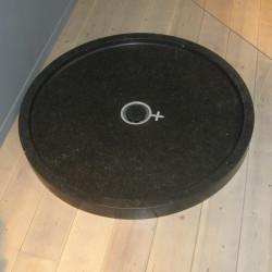 Piatto doccia circolare in marmo Lei 90 cm nero Petit Granit