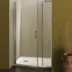 Porta doccia a battente con fisso in linea Franca/F da 107/110 cm in cristallo 6 mm