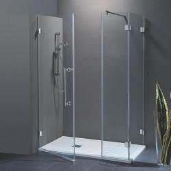Porta doccia con fisso in linea Laura da 120 cm con fisso laterale da 80 cm in cristallo 8 mm