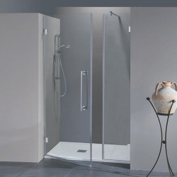 Porta doccia con fisso in linea Simona da 100 cm in cristallo 8 mm