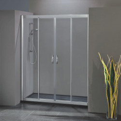 Porta doccia scorrevole con apertura centrale 1701/4 da 123/131 cm in cristallo 6 mm