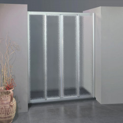 Porta doccia scorrevole con apertura centrale 305/4 da 123/131 cm in crilex 3 mm