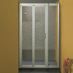 Porta doccia soffietto con fisso in linea 1003/F da 116/124 cm in cristallo 4 mm