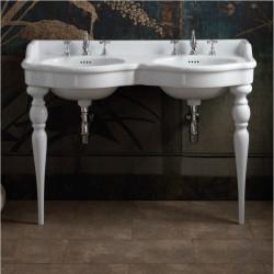 Queen lavabo consolle doppio bacino 120 cm completo di gambe Queen Bianco