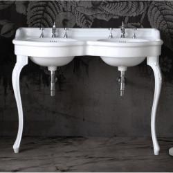 Queen lavabo consolle doppio bacino 120 cm completo di gambe Venice Bianco