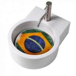 Turn lavabo appoggio o sospeso con foro per la rubinetteria piastra Brasile