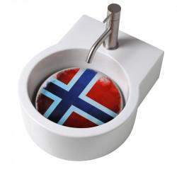 Turn lavabo appoggio o sospeso con foro per la rubinetteria piastra Norvegia