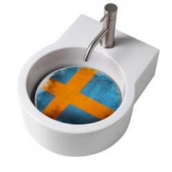 Turn lavabo appoggio o sospeso con foro per la rubinetteria piastra Svezia