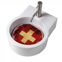 Turn lavabo appoggio o sospeso con foro per la rubinetteria piastra Svizzera