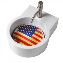Turn lavabo appoggio o sospeso con foro per la rubinetteria piastra USA