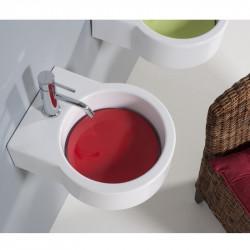 Turn lavabo da appoggio o sospeso completo di piastra Rosso