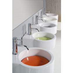Turn lavabo da appoggio o sospeso completo di piastra Arancione