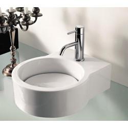 Turn lavabo da appoggio o sospeso completo di piastra Bianco