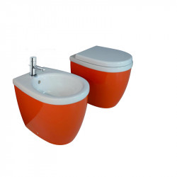 Young vaso universale e bidet monoforo Orange & White