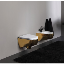 Shape Sospeso vaso e bidet monoforo decoro Luxury Gold